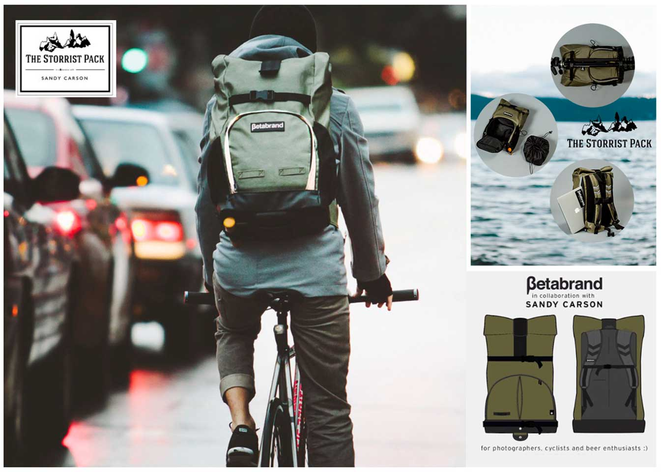 Signature camera/cycling backpack in collaboration with Betabrand
